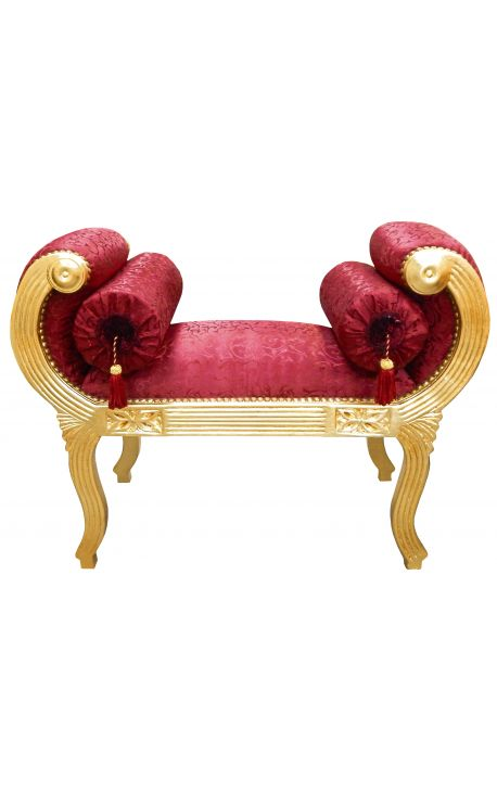 Roman bench red satine fabric and gold wood