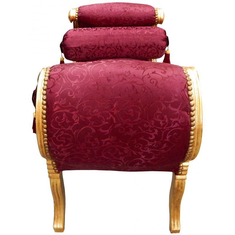 Banquette romaine tissu satiné rouge et bois doré à la feuille