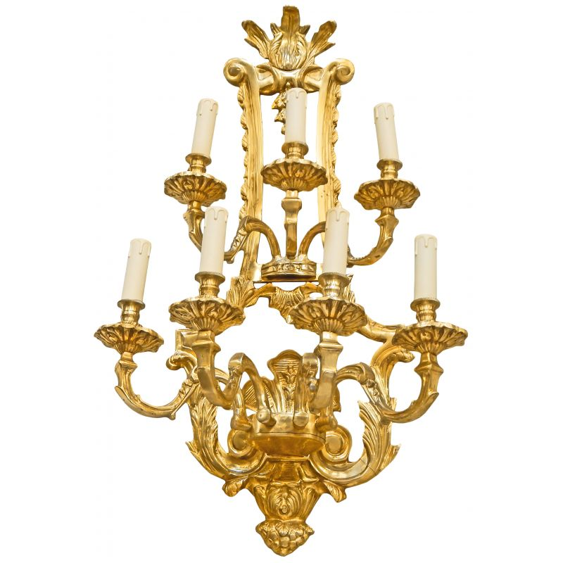 Large Wall Lamp In Bronze Napoleon III Style With 7 Lamps