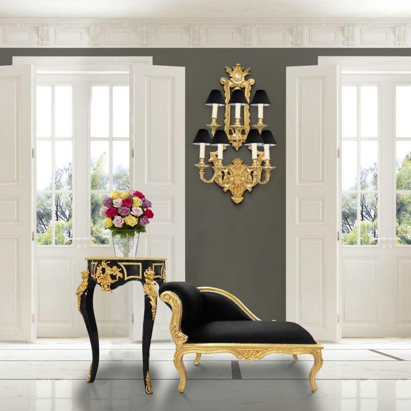m ridienne baroque style louis xv tissu en velours noir et. Black Bedroom Furniture Sets. Home Design Ideas
