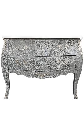Baroque chest of Louis XV style black and white crackle and silver bronzes