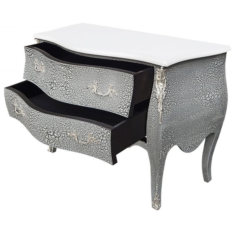 commode baroque de style louis xv noir et blanc craquel e et bronzes argent s. Black Bedroom Furniture Sets. Home Design Ideas