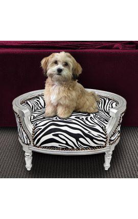 Canapé lit pour chien ou chat baroque tissu zèbre et bois argent