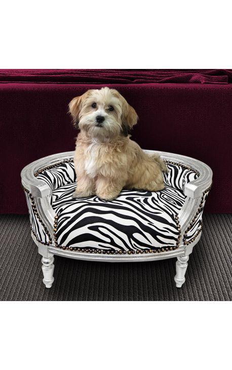 canap lit pour chien ou chat baroque tissu z bre et bois argent. Black Bedroom Furniture Sets. Home Design Ideas