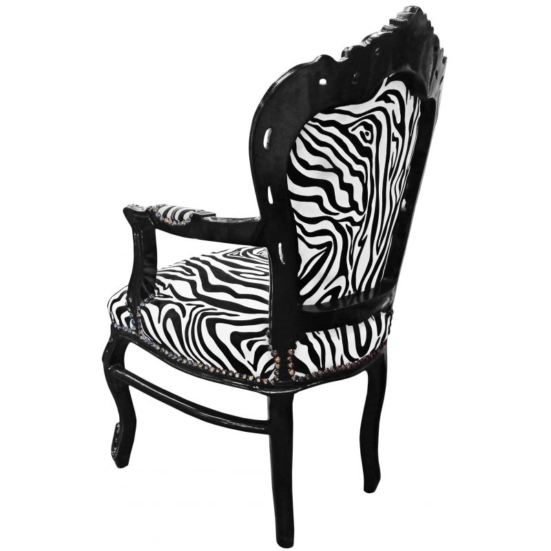fauteuil de style baroque rococo zebre et bois noir. Black Bedroom Furniture Sets. Home Design Ideas