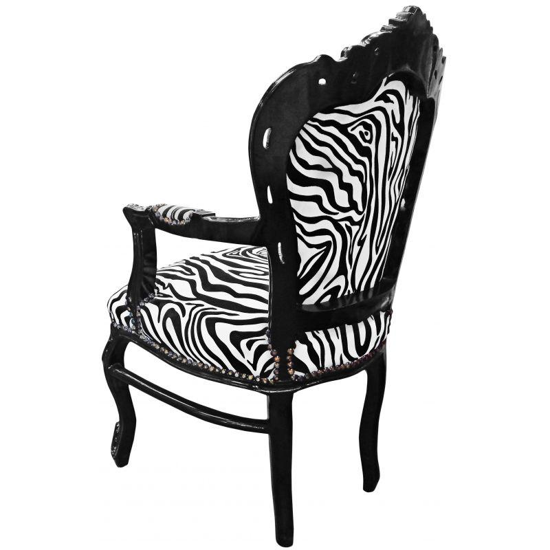 Fauteuil de style baroque rococo zebre et bois noir - Fauteuil zebre ...