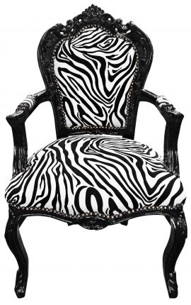 Armchair Baroque Rococo style zebra printed fabric and glossy black wood