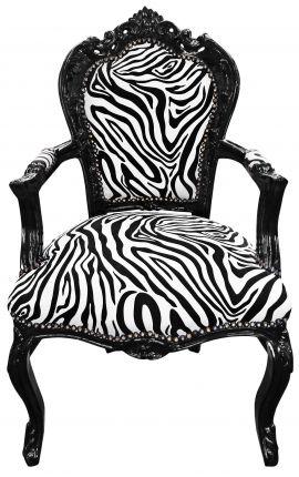 Fauteuil de style Baroque Rococo zebre et bois noir