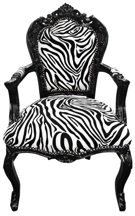 Armchair Baroque Rococo style zebra texture and black lacquered wood
