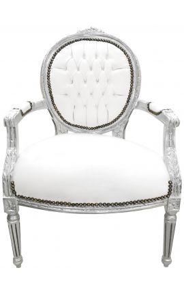 Fauteuil Louis XVI de style baroque simili cuir blanc et bois argent