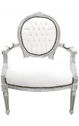 Baroque armchair Louis XVI style white leatherette and silver wood