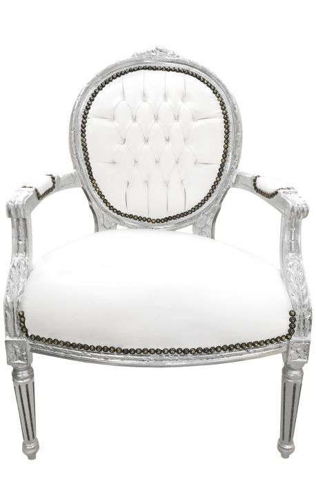 Fauteuil baroque de style Louis XVI simili cuir blanc et bois argent
