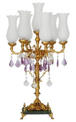 Candelabra in bronze and marble with glass drops