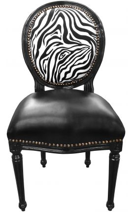 Louis XVI style chair zebra and black false skin with black lacquered wood