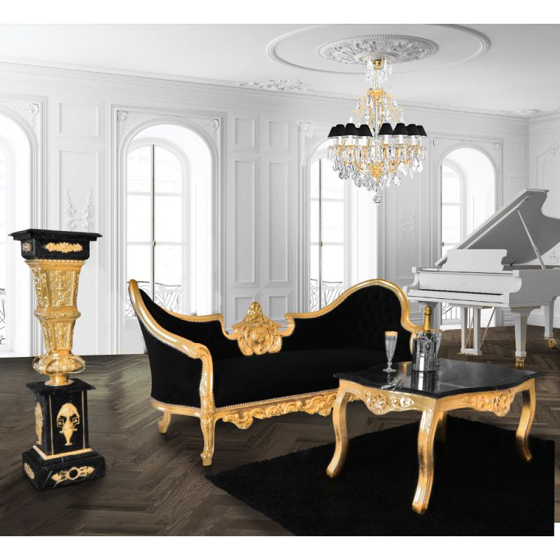 table basse de salon de style baroque en bois dor e avec marbre noir. Black Bedroom Furniture Sets. Home Design Ideas