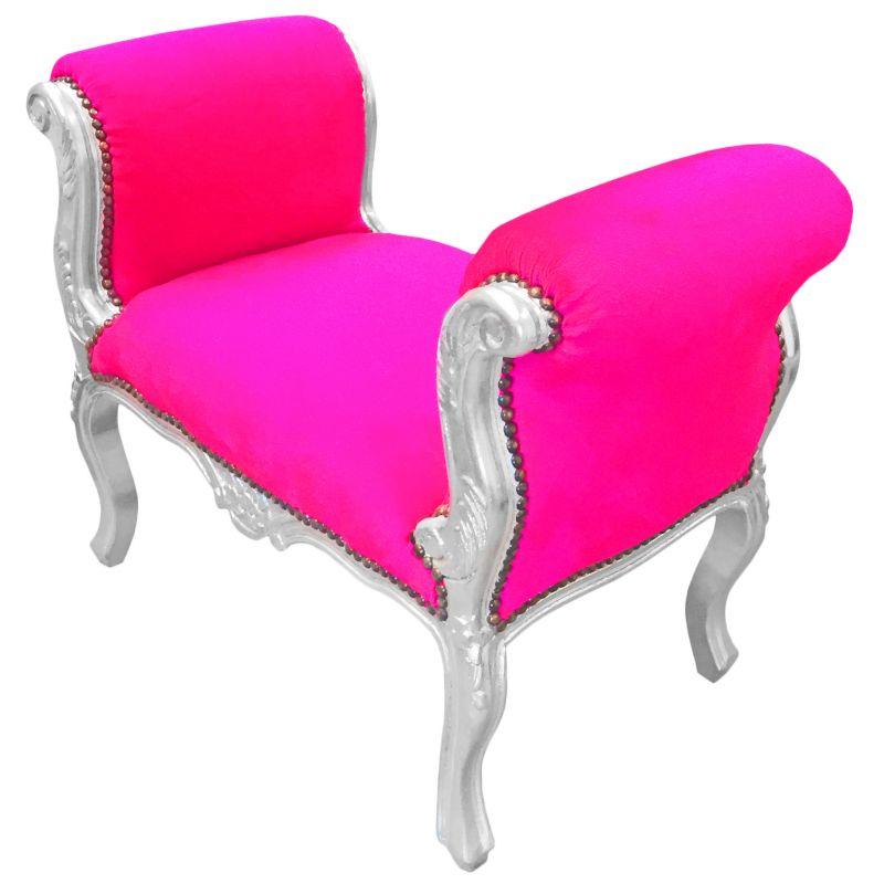 banquette baroque de style louis xv tissu rose fuchsia et bois argent. Black Bedroom Furniture Sets. Home Design Ideas