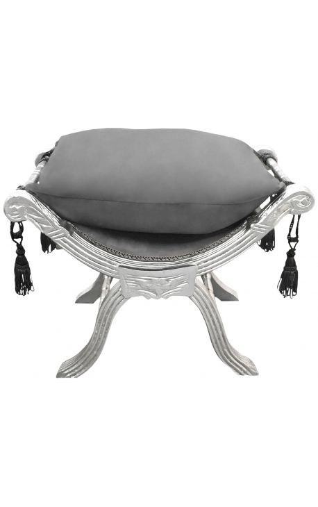 Roman bench (or Dagobert) grey velvet and silvered wood