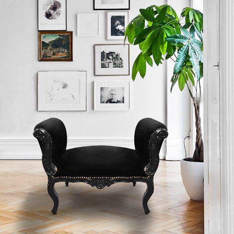 banquette baroque de style louis xv velours noir et bois laqu noir. Black Bedroom Furniture Sets. Home Design Ideas