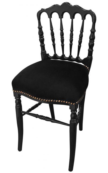 Chaise De Style Napolon III Velours Noir Et Bois