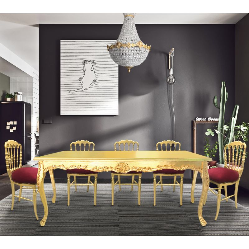 444305b1a87bb Dining table wooden baroque gold leaf