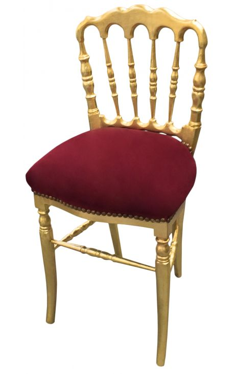 Napoleon III style dinner chair burgundy velvet and gold wood
