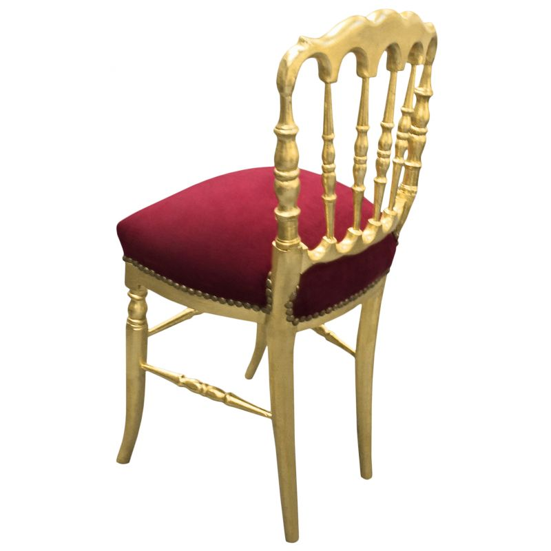 Chaise De Style Napoléon Iii Velours Bordeaux Et Bois Doré