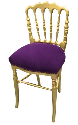 Napoleon III style chair purple velvet and gold wood
