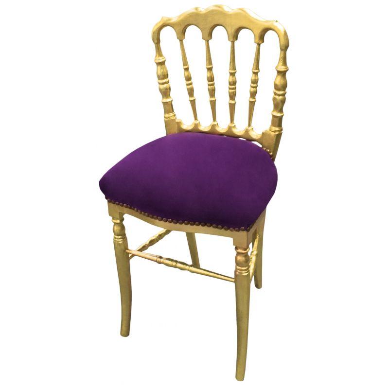 Chaise de style napol on iii tissu velours mauve et bois dor for Chaise de style