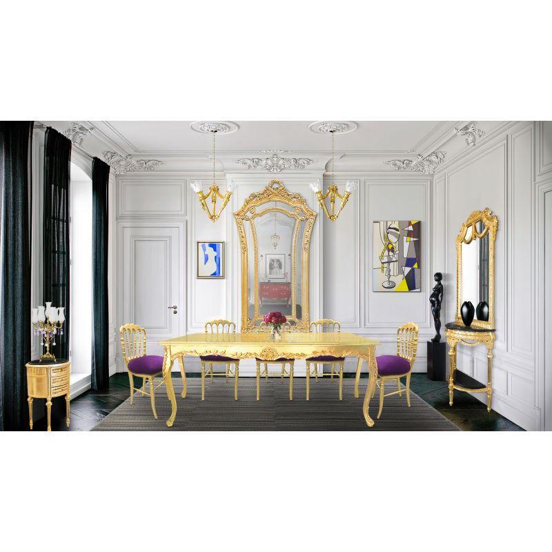 chaise de style napol on iii tissu velours mauve et bois dor. Black Bedroom Furniture Sets. Home Design Ideas