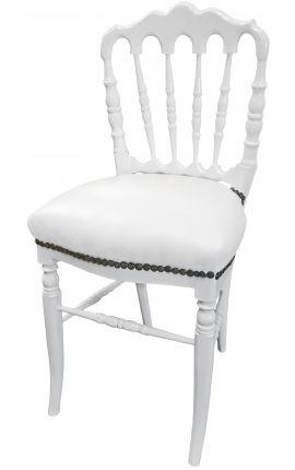 Chaise de style Napoléon III simili cuir blanc et bois blanc