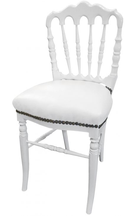 Napoleon III style dinner chair white leatherette and white wood