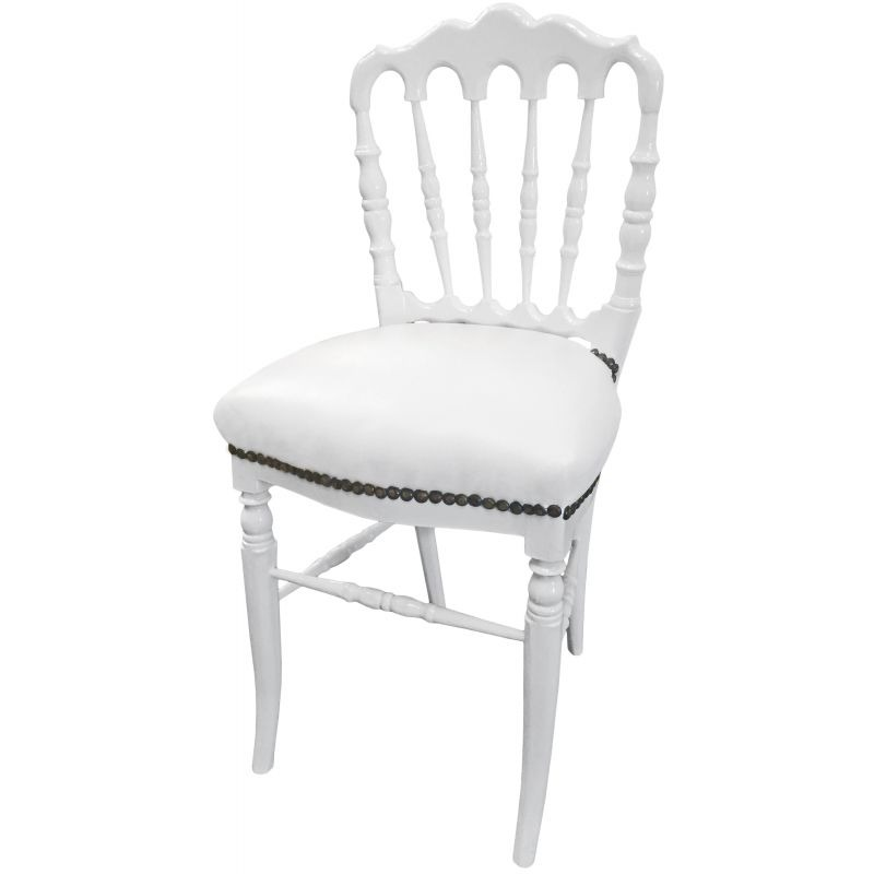 Napoleon Styled Saddle Brown Kitchen Chair: Napoleon III Style Dinner Chair White Leatherette And