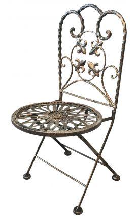 Chaise pour enfant, fleurs de lys, pliante en fer forgé