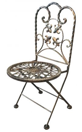 Children's chair, lilies, folding wrought iron