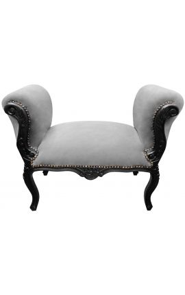 Baroque Louis XV bench grey velvet fabric and black matte wood