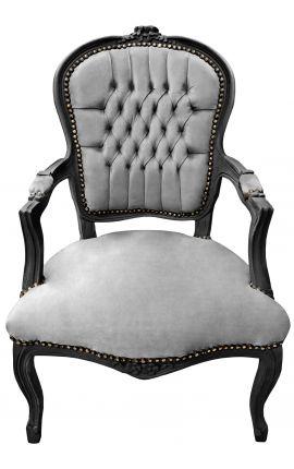 Fauteuil Louis XV de style baroque velours gris et bois noir mat