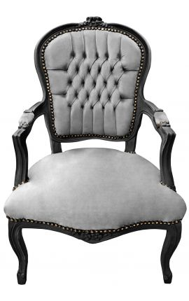 Baroque armchair of Louis XV style grey and black matt lacquered wood