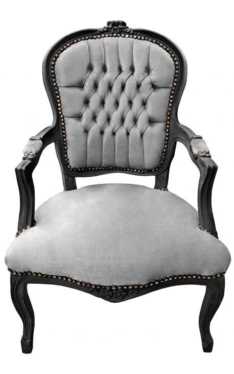Fauteuil baroque de style Louis XV tissu gris et bois noir mat