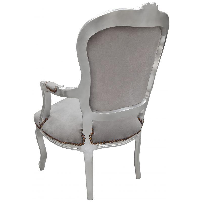 fauteuil baroque de style louis xv gris et bois argent. Black Bedroom Furniture Sets. Home Design Ideas