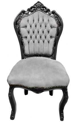 Baroque rococo style chair grey velvet and black matt wood