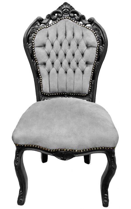 Chaise de style Baroque Rococo tissu velours gris et bois noir mat