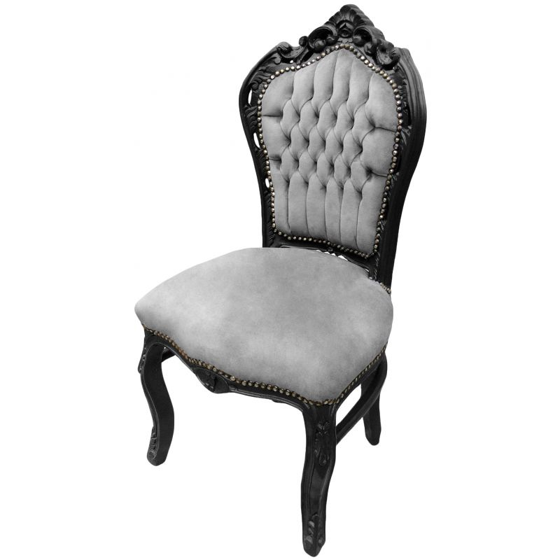 chaise de style baroque rococo tissu velours gris et bois noir mat. Black Bedroom Furniture Sets. Home Design Ideas