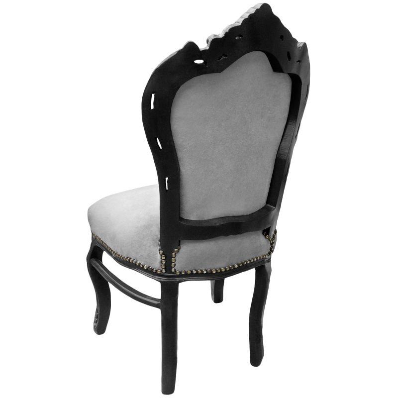 Chaise de style baroque rococo tissu velours gris et bois for Chaise de style baroque