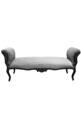 Longue banquette baroque de style Louis XV velours gris et bois noir mat