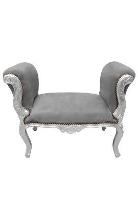 Banquette baroque de style Louis XV tissu velours gris et bois argent