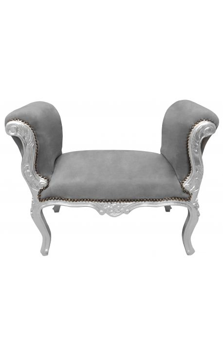 Baroque Louis XV bench grey velvet fabric and silver wood