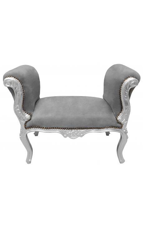 Барокко кресло стиль Louis XV ткани серый бархат и серебро дерево
