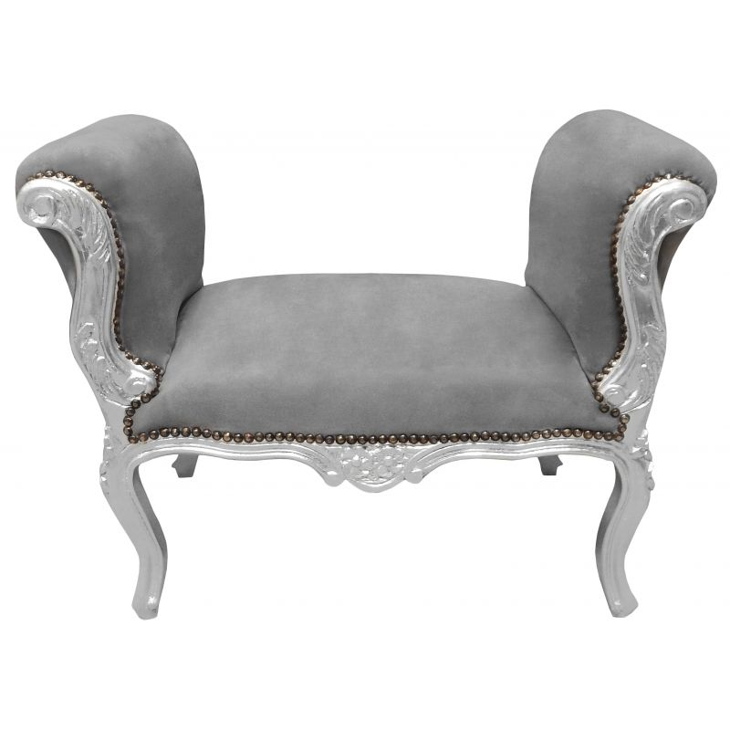 banquette baroque de style louis xv velours gris et bois argent. Black Bedroom Furniture Sets. Home Design Ideas