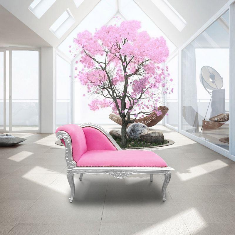 m ridienne de style louis xv tissu velours rose et bois argent. Black Bedroom Furniture Sets. Home Design Ideas