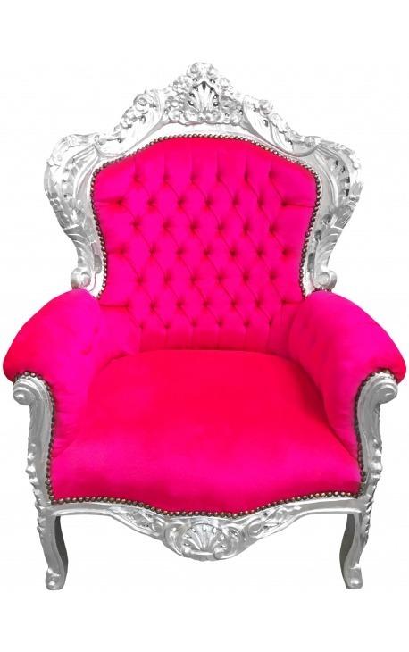Grand fauteuil de style Baroque velours fuchsia et bois argent